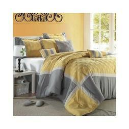 Quincy 8 Piece Comforter Set Size: Queen, Color: Yellow