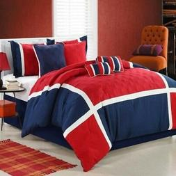 Quincy Red Comforter Bed In A Bag Set - King 8 Piece