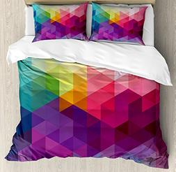 Ambesonne Rainbow Duvet Cover Set Queen Size, Colorful Abstr