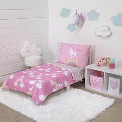 Little Tikes Rainbow Unicorn 4 Piece Toddler Bedding Set, Pi