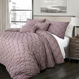 Ravello Pintuck Comforter Sets 5 Piece Set, King, Woodrose H