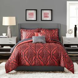 Red Black Multi Size Comforter Set 10 Piece Sheets Bed Pillo