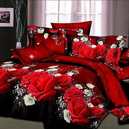 EsyDream Fashion Red Rose King Size Bedding Sets,Queen Twin