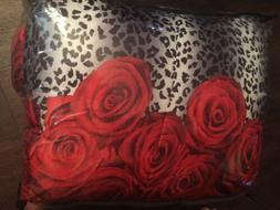 ALCOVE RED ROSES & LEOPARD PRINT 8 PC FULL COMFORTER SET NEW