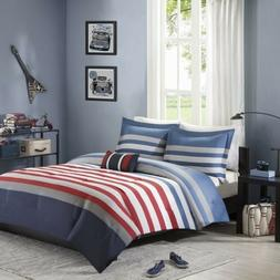 Red White Blue & Grey Stripes Comforter Set  AND Decorative