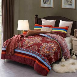 Reversible Bohemia Plush Sherpa Comforter Set Queen/King Siz