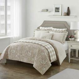 Reversible Comforter Set 7Pc Microfiber Floral Pattern Taupe