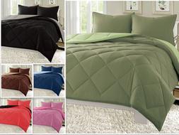 Reversible Comforter Set Down Alternative 3-Piece Bedding Su