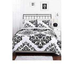 Reversible Cotton Comforter Set Black and White Damask Twin
