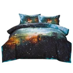Reversible Quilted Comforter Set Galaxies Outer Space Sky Pr