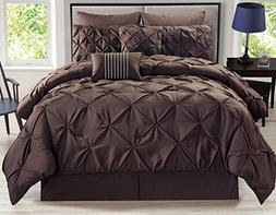 8 Piece Rochelle Pinched Pleat Coffee Comforter Set King