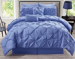 8 Piece Rochelle Pinched Pleat Lavender Comforter Set King