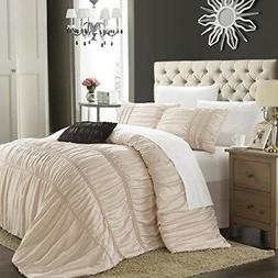 Chic Home Romantica 5-Piece Comforter Set, Queen, Taupe