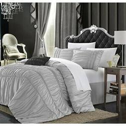 Chic Home Romantica 5-Piece Comforter Set, Queen, Silver
