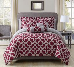 KingLinen 10 Piece Romina Burgundy/Gray Comforter Set Queen