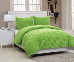 VCNY Rose Fur 3-Piece Comforter Set Full Green VCNY