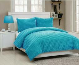 VCNY Rose Fur 3-Piece Comforter Set Full Blue