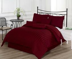 Royal Calico Burgundy 7p Comforter set Damask Stripe 100% Co