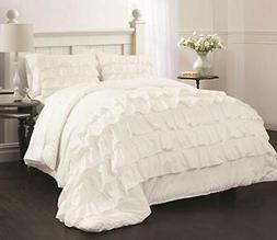 Ruby Ruffle Comforter Set, Twin, White