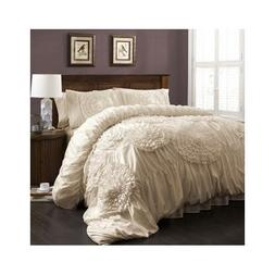 Ruffled Comforter Set Bedding Shabby Floral Chic Ruched Fren