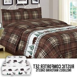 Rustic Bear Comforter Bedding and Sheet Set Cabin Moose Hunt