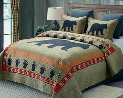 CABIN BLACK BEAR PAW QUILT BED SET/CURTAINS/RUG GREEN BROWN