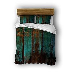 CHARM HOME Rustic Distressed Teal Green Barn Wood Design Sup