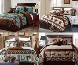 Linen Mart Rustic Western Lovers Cabin Lodge Comforter - 7 P