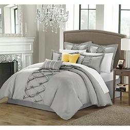 Chic Home 8-Piece Ruth Ruffled Comforter Set, Queen, Silver