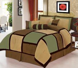 7 Piece Sage, Brown, Beige Micro Suede Patchwork Comforter S