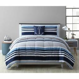 Sailor Comforter Set Full Queen King White/Blue Nautical Str