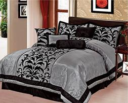 EMPIRE Sarah 8-Piece Flocking Over Sized Comforter Bedding S