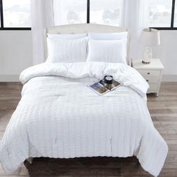 Scarlet 3-Piece White Seersucker Stripe Microfiber Bedding C