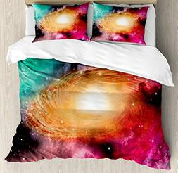 Ambesonne Science Room Decor Duvet Cover Set King Size, Colo