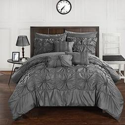 Perfect Home 10 Piece Scofield Floral Pinch Pleat Ruffled De