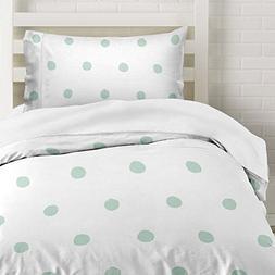 Seafoam Green Polka Dot Duvet Cover Twin Size Bedding, Soft