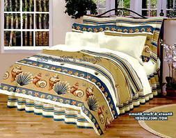 SEASHELL Beige Comforter Set TROPICAL BEACH COASTAL Twin Ful