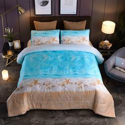 Seaside Beach Starfish Seashell Comforter Set Kids Bedding Q