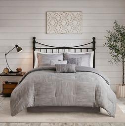 Madison Park Seersucker 7-Piece Comforter Set - Grey - Size: