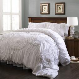 Cute Queen Comforter Set Shabby Chic Shams Bedroom Decor 3 P