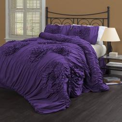 Lush Decor 3 Piece Serena Comforter Set, Queen, Purple
