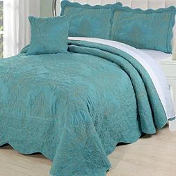 Serenta Damask 4 Piece Bedspread Set, Queen, Teal
