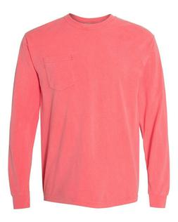 Set of 2 LONG sleeve Comfort Colors POCKET tees size LARGE W