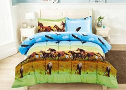 3 Piece Set Wild Horse and Eagle 3d Comforter Set  Queen