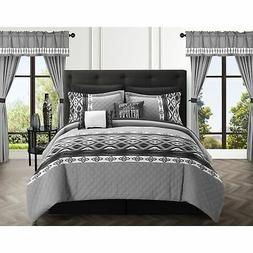 Chic Home Sevrin 20 Piece Comforter Set Color Block Black Ki