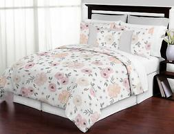Jojo Shabby Chic Pink Grey Watercolor Floral Teen Girl Full