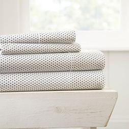Simply Soft 4 Piece Sheet Set Stippled Patterned, King, Gray