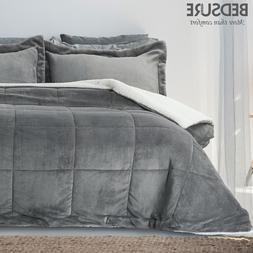 Bedsure Sherpa & Flannel Comforter Set Pillow Shams Down Alt
