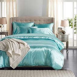 HOMIGOO 2PCS Silk Like Fabric Summer Cool Bedding Set Solid