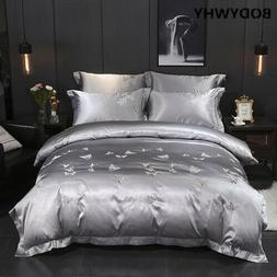 Silver White Luxury Bedding Set Cotton Extra Large Quilt Cov